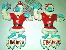 Lot of 2 Funny Abominable Yeti Snowman Monster Legend Ornament Resin Christmas