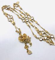 Beautiful KIRKS FOLLY Winged Cherub Necklace Bezel Set Crystals Vintage Jewelry