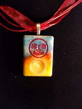Joker face necklace Handcrafted tye dye alcohol ink pendant blue red yellow OOAK