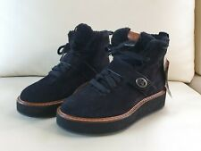 Coach Shearling Fur Suede Urban Hiker Ankle Boots Booties shoes US7.5 EU38