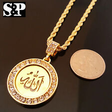 """HIP HOP GOLD ICED OUT ALLAH MUSLIM CZ ROUND PENDANT & 24"""" ROPE CHAIN NECKLACE"""
