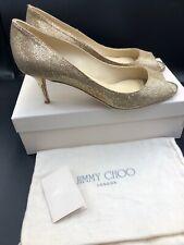 Jimmy Choo 'isabel' Gold Glitter Kitten Mid Heels Peep Toe Uk 7.5 Eu 40.5