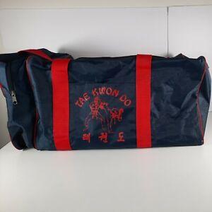 "Vintage Kwon Do Tournament Equipment Bag Gym Duffel Bag Navy & Red 28""x12""x12"""