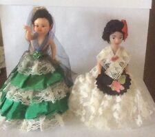 Two Vintage 1970's Spanish Lady Dolls, Souvenir