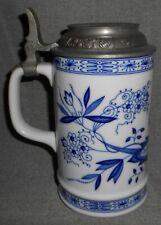 1980 Kirin Beer Hutschenreuther - Germany Beer Stein Blue/White Porcelain