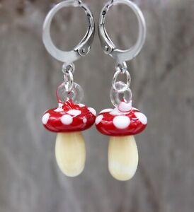 Ohrringe Ohrhänger Lampwork Pilze Fliegenpilz Herbst Perlen Edelstahl Damen#C055