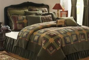 Country Green Log Cabin Style Tea Cabin Quilt New by VHC