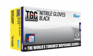 TGC Industrial Black Nitrile Disposable Work Gloves 100 Pack