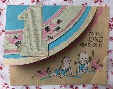 Vintage 1930s Die-Cut Birthday Greeting Card for One Year Old Cute Babies