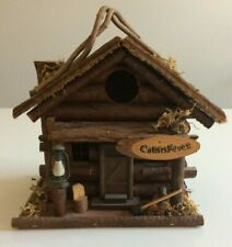 "New Rustic Log Cabin Bird House- ""Cabin Fever"" - w/Lantern/Ax/Chair-Very Cute!"