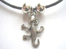 Gecko Lizard DARK COLOR ARGENTO CIONDOLO NERO Waxed Cotton Cord COLLANA
