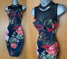Karen Millen GB 10 Estampado Rosa Firma Elástico Vestido Con Malla Transparente