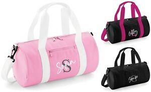Personalised Initial Name Kids Barrel Bag - Sports Gym Dance PE School Duffle