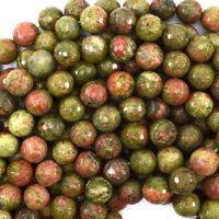 """Faceted Unakite Jasper Round Beads Gemstone 15"""" Strand 4mm 6mm 8mm 10mm 12mm"""
