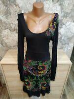Desigual women's dress size L black  multi color