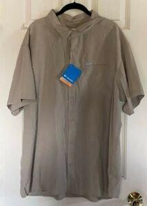 NEW  Longspur Columbia Men's Tan XXL Omni-Shade 30 Short Sleeve Shirt