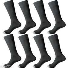 8 Pairs Lot Mens Black Solid Classic Business Dress Popular Large Socks 9-12