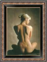 "Hand-painted Original Oil Painting art Portrait back nude Girl on canvas 24""x36"""