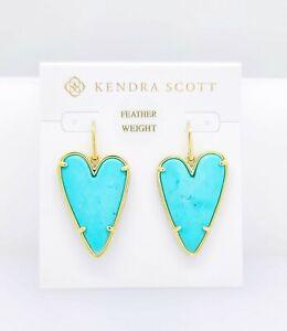 New Authentic KENDRA SCOTT Blue Magnesite 458 Gold Ansley Heart Drop Earrings