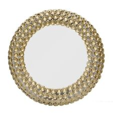 Round Wall Mirror frame raw aluminium flower design Gold Finish frame Handmade