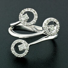 14k White Gold 0.32ctw Pave & Prong Set Round Diamond Triple 3 Circle Wrap Ring