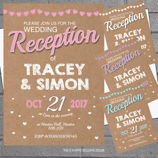 Personalised Wedding Day Night Invitations Kraft Print Bunting x 12 + env H1653