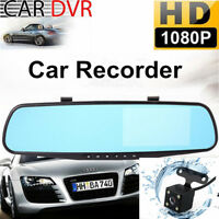 "HD 1080P 4.3"" Dual Lens Car DVR Dash Cam Reversing Camera Mirror Video Recorder."