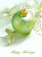 """Boxed Christmas Cards Green Ornaments Design, 4"""" x 6"""", 16 Cards and 17 Envelopes"""