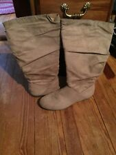 PRE-OWNED- COMFORTVIEW - WOMENS  BOOTS - FAUX SUEDE - TAN - 9 1/2 M