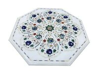 1.5' White Marble Coffee Table Top Malachite Lapis Floral Inlay Home Decors W033