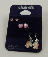 Sterling Silver Unicorn dangle post studs earring  earrings 925 white pink