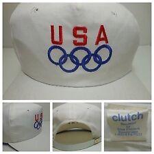 Vtg USA Olympics Hat White Clutch Drew Pearson OSFA Unworn Display