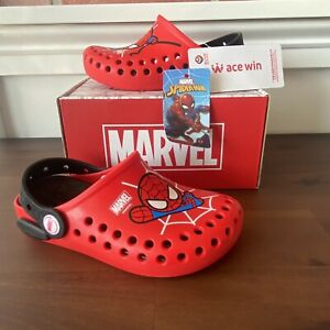 Toddler Spiderman Marvel Clog Style Slip on Shoes NEW With Tags And Box Size 10