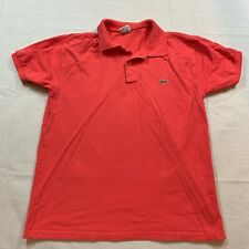 Lacoste Polo Shirt Adult Size 5 Large Red Crocodile Cotton Casual Rugby Mens
