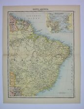 1898 Original Map of South America (East) JG Bartholomew
