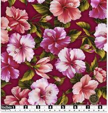 Quilting Fabric Pink Peach Hibiscus Flower Deep Pink BG Fat Quarters 100% Cotton