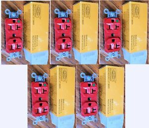 Hospital Grade Hubbell Duplex Outlet, Red, HBL8300HR, Lot of 5 pieces