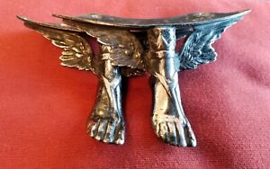 2winged feet.Reclaimed ,silverplate?Drawer? Pull knob ,Handles.Vintage,Antique?