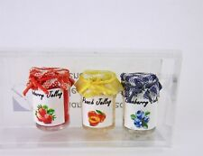 Closeout! Dollhouse Miniature Artisan Set of 3 Jelly Jars w/ Gingham Tops