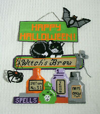 Happy Halloween Wall Hanging Black Cat Bat Spider Finished Plastic Canvas