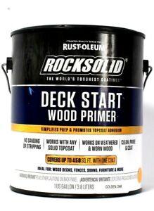 1 Can Rust-Oleum 1 Gallon RockSolid Golden Oak Deck Start Wood Primer
