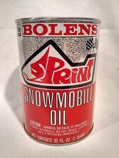 RARE NOS VINTAGE FMC BOLENS SPRINT SNOWMOBILE  MOTOR OIL 1 QUART TIN CAN  sign