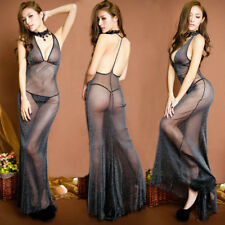 Womens Floral Lace Lingerie Babydoll See-through Under/Nightwear Sexy Gown Dress
