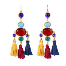 Hot Fashion Colorful Tassells Gem Stone Dangle Earrings