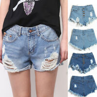 Fashion Women Sexy High Waist Tassel Hole Shorts Denim Jeans Short Hot Pants