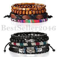8pcs Mix Tribal Cross Wooden Beaded Leather Bracelet Women Men Cuff Wristband