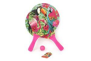 NEW Pink Tropical Print Bat And Ball Game Set Beach Garden Summer Party Fun Kids
