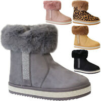 Ladies Fur Lined Ankle Snow Boots Womens Snug Grip Sole Winter Calf Shoes Size