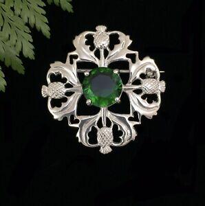 Striking Scottish Thistle Sterling Silver 925 Emerald Green Glass Brooch Pin