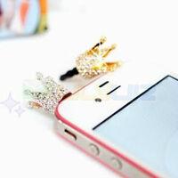 Crystal Crown 3.5mm Anti Dust Earphone Jack Plug dust proof Cap for iPhone 4 4S